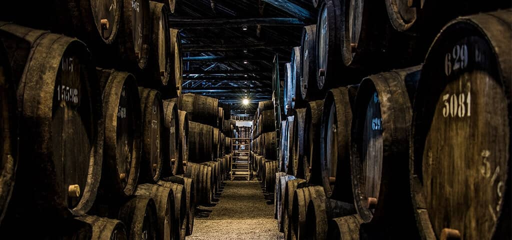 Taylor FladgatePort wine cellars in the heart of the historic area of Vila Nova de Gaia, across the river from the old city centre of Oporto,...