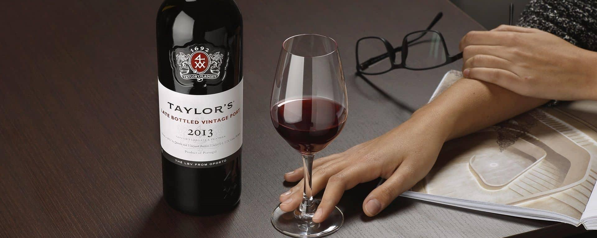 Late Bottled Vintage 2013 Port wine bottle and glass