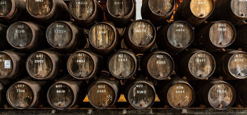 Taylor Fladgate Port wine cellars in the heart of the historic area of Vila Nova de Gaia, across the river from the old city centre of Oporto,...